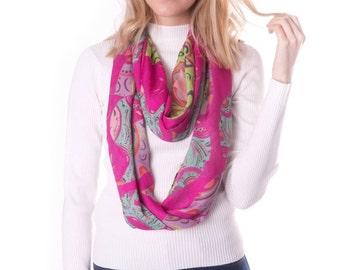 Infinity pink paisley print cashmere scarf