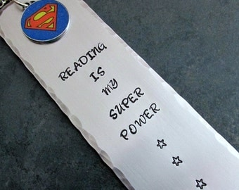 Reading Is My Super Power Stamped Metal Bookmark