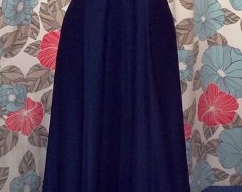 1960s / 1970s Vintage Navy Halter Neck Maxi / Evening Dress Approx UK Size 6 / 8