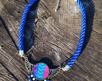 Necklace with Blue Rope and Pendant