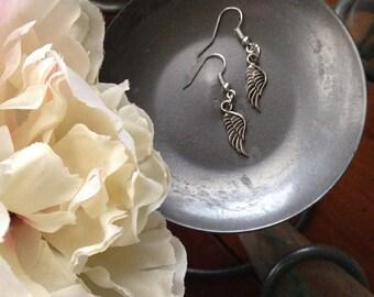 Silver Earrings, Angel Wings, Angel Earrings, Wing Earrings, Dangle Earrings, Medium Earrings