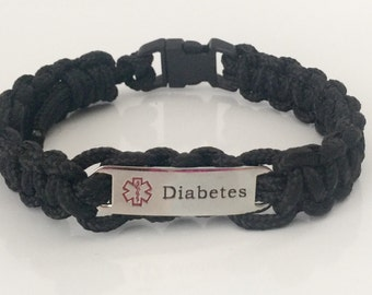 Black Paracord Diabetes Medical Alert Bracelet