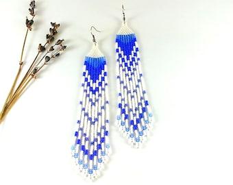 Iris earrings Beaded earrings Dangle earrings Cornflower blue wedding Long earrings Denim jewelry Extra long earrings White earrings fringe