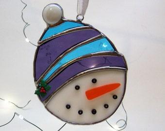 Stained Glass-Snowman-Christmas Ornament-Suncatcher