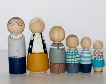 Custom Peg Family of 6, hand painted wooden pegs, Clairabells peg dolls