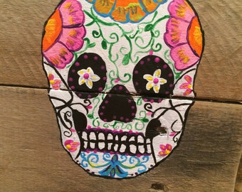 Dia de los Muertos painting, sugar skull, reclaimed wood painting, day of the dead painting, mexican art