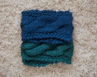 The Lyndsay Wool Headband (Caribbean Sea, Mint & Stone Blue)
