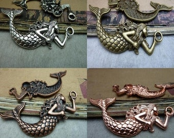 10pcs  32x75mm 4 colors available mermaid charms, mermaid pendant connector pedant Jewelry findings link bc8245