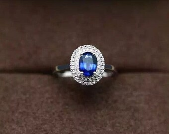 Sapphire Ring- 1 Carat Sapphire With Diamonds In 14K White Gold