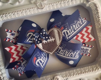 New England Patriots Hair Bow or Bow & Headband Set with Football Heart Feltie Center