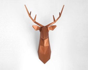 DIY Deer Head Paper Sculpture Kit COPPER