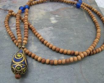 Tibetan bead sandalwood necklace, tribal necklace, Tibetan pendant,bohemian jewelry, long wood bead necklace, blue lapis inlay, layering