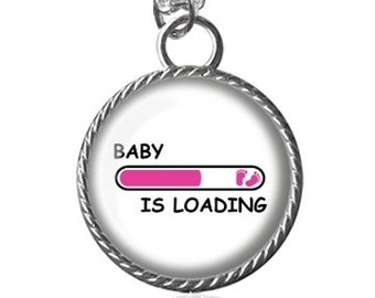 New Mother Necklace, Baby Loading Necklace, Boy, Girl, Baby Shower, Expecting Mom, Gifts For Her Image Pendant Key Chain Handmade