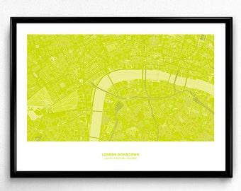 London Downtown Map Poster Art Monochromatic Color