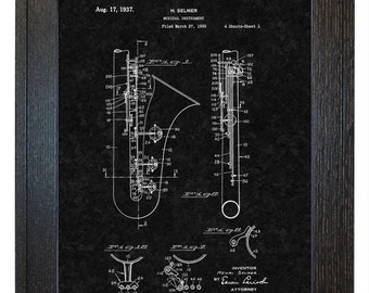 Framed Patent Print - Musical Instrument WITH Real Rustic Wood Frame - Framed Patent Art
