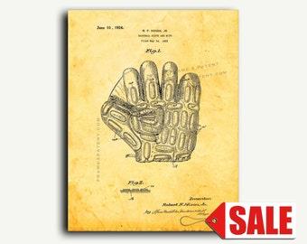 Patent Art - Baseball Glove and Mitt Patent Wall Art Print