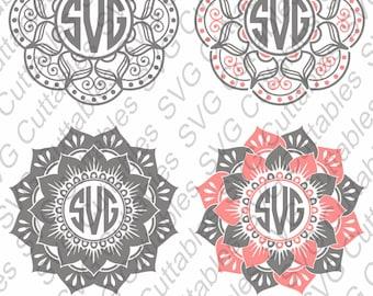 Mandala svg, Mandala Monogram Frame svg, mandala dxf, Mandala cut file, Silhouette file, Cricut cut file, Digital download