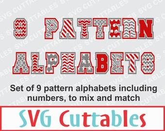 Pattern Alphabet SVG, DXF, EPS, Bundle of 9 patterned alphabets, Vector, Digital Cut File