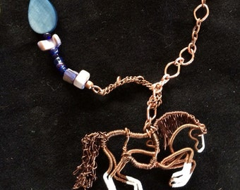 Copper Horse pendant necklace.
