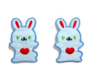 Set 2 pcs. Blue Rabbit Red Heart - Happy Rabbit - Cute Cartoon Patches New Sew / Iron on Patches Embroidered Applique Size 2.4cm.x3.7cm.