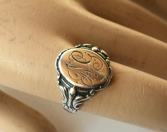 Large Antique Victorian Sterling Silver Fancy Monogrammed Signet Ring