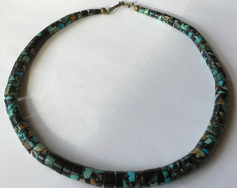 SALE! Vintage Southwestern Turquoise & Resin Beaded Necklace