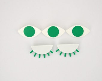 DECLINE of ŒIL, 3D printed eye Apple green brooch