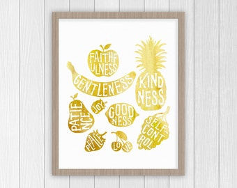Fruit of the Spirit Wall Art | Bible Verse Art Print | Nursery Art | Scripture Art