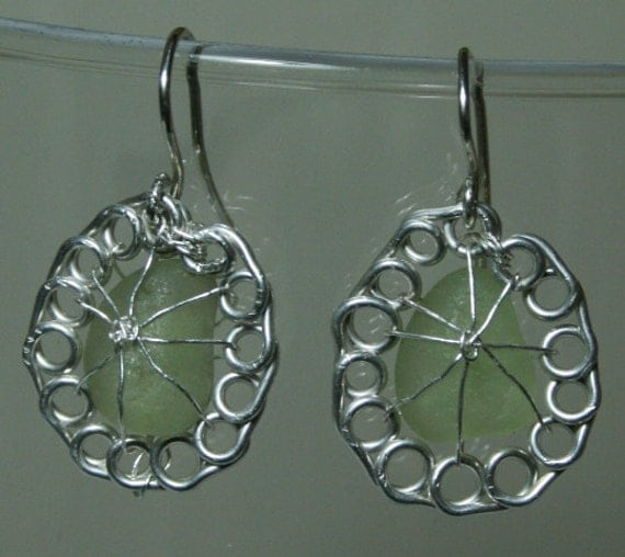 DAISY - Sea Glass and Sterling Silver Earrings