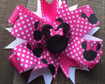 Hot Pink Minnie Mouse Bow/ Clip...pink polka dots, Mickey Mouse