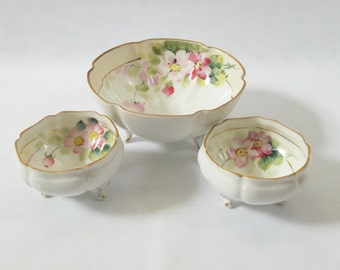 Unique, Three Matching Vintage Nippon Bowls, Hand Painted, Footed, Gold Trim, Pink Floral Design, Collectible