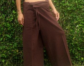Fisherman Pants Wrap Yoga Pants Thai Fisherman Pants Wide Leg Pants Hippie Pants Thai Pants Burning Man Pantaloni Thai Calca Tai * choco *LF