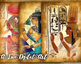 Digital collage sheet, Egyptian Art, instant download card making, digital printable images, greeting cards, postcards vintage, scrapbooking