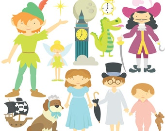 Peter Pan Digital Clipart & Vector Set - Instant Download - Personal and Commercial Use
