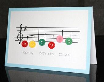 Handmade music birthday card