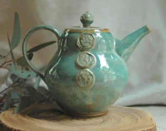 Handmade petite green stoneware teapot