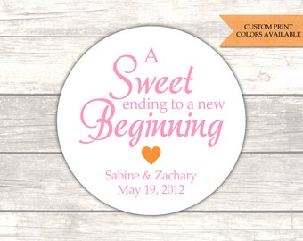 A sweet ending to a new beginning stickers - Wedding favor stickers - Wedding stickers - Favor labels (RW005)