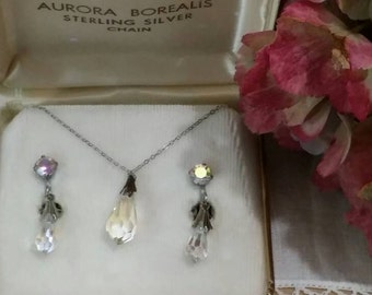 1960s Vintage Aurora Borealis Pendant Necklace and Drop Earrings Sterling Silver Set in Original Box