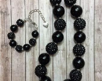 black chunky necklace, black bracelet, black bubblegum necklace,