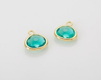 Blue Zircon Glass Frame Pendant  Polished Gold -Plated - 2 Pieces [G012601-PGBZ]