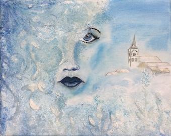 Clara - acrylic-, pastel - painting on canvas
