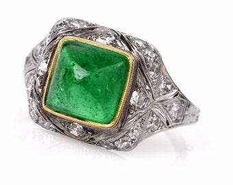 Antique Art Deco AGL Certified Colombian Emerald & Diamond Platinum Engagement Ring, #627201
