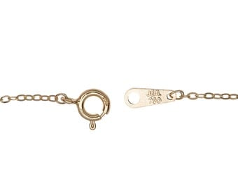 "18K Solid Gold,750,6"",6.5"",7"",7.5"",8"",8.5"",9"",10""  1.2 m/m Flat Cable Chain Bracelets and Anklets"
