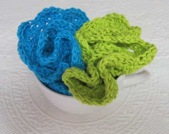 Crochet Dishcloth,Wash cloth,Dish Rag,Wash Rag,Cotton,Round Dish ClothDishcloth,Set of 2,Green,Blue,Scalloped Edge,Kitchen Decor,Vintage