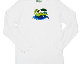 Boys white chameleon sun protective shirt