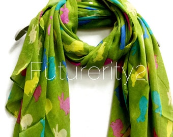 Multicoloured Bunnies Apple Green Scarf / Spring Scarf / Summer Scarf / Women Scarves / Gifts For Her / Accessories / Handmade