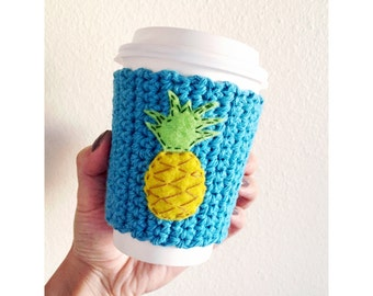 Knitted Coffee Cozy // Pineapple // Eco-Friendly // Coffee Sleeve