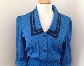 80's Blue Polka Dot dress, size 10, US size 4
