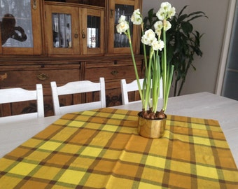 Vintage Easter Table Cloth Plaid Table Cloth Checkered Table Cloth Square Plaid  Table Cloth Brown Yellow