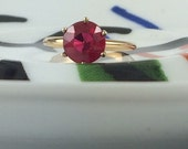 Antique Ruby Ring Estate Engagement Ring July Birthstone Alternative Solitaire Synthetic Ruby Ring Vintage Red Stone Ring Anniversary